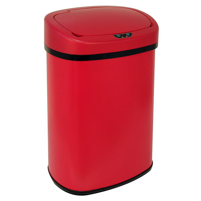 New Red 13 Gallon Touch Free Sensor Automatic Trash Can