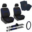 13pc Blue Black Front Bucket SUV Seat Covers Set Wheel Pad Navy Floor Mats 3E