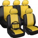 Faux Leather Car Seat Covers Yellow 17pc Set w/Steering Wheel/Belt Pad/Head Rest