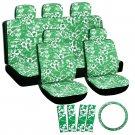 17pc Set Hawaii Green Auto Car Hawaii Seat Covers Wheel-Belt Pad-Head Rests 1E