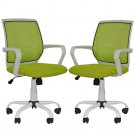 2 PCS Mesh Computer Office Desk Task Mid Back Task Chair w/Metal Base H27 Green
