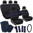 21pc Set Blue Black Car Seat Cover /Floor Mats/Steering Wheel/Belt Pad/Head Rest