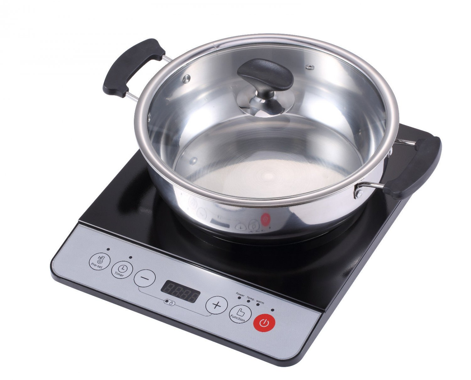 new midea 1500w induction cooktop cooker with stainless steel pot table hotpot. Black Bedroom Furniture Sets. Home Design Ideas