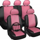 Faux Leather Seat Cover for Ford Mustang Pink Steering Wheel/Belt Pad/Head Rests