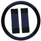 Steering Wheel Cover for Auto Car Truck Van SUV Blue Black Custom Protector