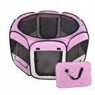 New Small Pet Dog Cat Tent Playpen Exercise Play Pen Soft Crate Pink