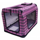 "30""Pink Plaid Portable Pet Dog House Soft Crate Carrier Cage Kennel"