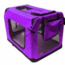 "36"" Purple Portable Pet Dog House Soft Crate Carrier Cage Kennel Free Carry"