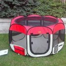 New large Red Pet Dog Cat Tent Playpen Exercise Play Pen Soft Crate