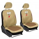 Faux Leather Animal SUV Seat Cover Beige Tan Dog Auto Bucket Style with Headrest