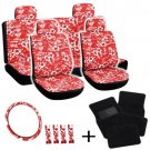 20pc Set Red Hawaii Floral Black Car Seat Covers Wheel Pads Head Floor Mats 1C