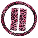 Animal Print Leopard Pink Fuzzy Steering Wheel Cover for Car Truck Van SUV 3PC