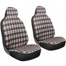 2pc OxGord Yellow Plaid Integrated Bucket Seat Covers for CAR Coupe Sedan Wagon