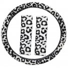 Leopard Print White Steering Wheel Cover Universal Fit for Car Truck Van SUV