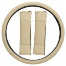 Faux Leather Steering Wheel Cover for Auto Car Truck Van SUV Tan Non-Slip Grip