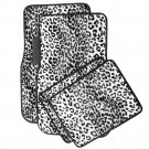 4pc Car Floor Mats for Auto Carpet White Safari Leopard Animal Print w/Heel Pad