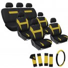 24pc Full Set Yellow Black SUV Seat Cover FREE Steering Wheel-Belt Pad-Head Rest