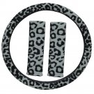 New Animal Print Leopard Gray Steering Wheel Cover 3PC Set for Car Truck Van SUV
