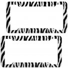2PC Set Safari White Zebra Tiger Print Plastic License Plate Frames Car Truck-D