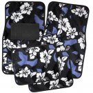 4pc Hawaiian Flower Blue Black White Car Carpet Floor Mats Universal E