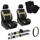 13pc Front Bucket SUV Seat Cover Set Tan Black Wheel Belt Head Floor Mats 3D