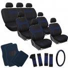 Blue Auto VAN Seat Covers Wheel-Belt-Head + Navy Royal Blue Floor Mat 26pc
