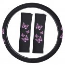 "New Pink Girly Stitched Butterfly Car Steering Wheel Cover 15"" Wheel Size Rubber"