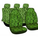 10pc Full Integrated Set Green Zebra Tiger High Back Car Auto Seat Covers 1E