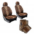 10pc Full Set Beige Leopard Print Car Low Back Bucket Seat Covers Floor Mats 1D