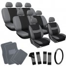 25pc Set Gray Black Auto Van Seat Cover Wheel Pads Head Rest + Grey Floor Mat 4A