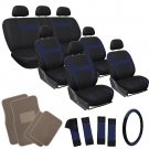 26pc Complete Navy Blue Black SUV Auto Seat Cover Set with Beige Tan Floor Mat