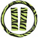 New Animal Print Zebra Green Steering Wheel Cover 3PC Set for Car Truck Van SUV