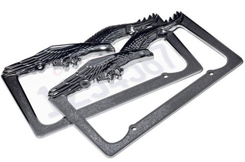 2pc OxGord Metal License Plate Steel Frame USA Eagle Hawk Bird Car SUV Van Truck