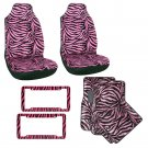 8PC Set Pink Zebra Print Bucket Seat Covers Floor Mats License Plate Frame 1D