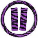 Animal Print Zebra Purple Steering Wheel Cover w/Belt Pads for Car Truck Van SUV