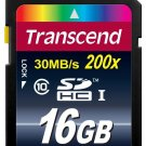 Transcend 16 GB Class 10 SDHC 30mb/s 200X Flash Memory Card New
