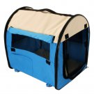 New Pet Carrier Dog House Soft Crate Cage Kennel Portable Blue and White