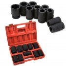 "10pc 1"" Shallow Black Impact Sockets Set 19mm-41mm Mechanic Tools Size MM Case"