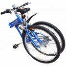 "26"" Folding Mountain Bicycle 7-Speed Shimano FOLDABLE Bike Matte Blue MTB"