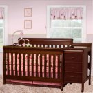 Multi-Function Cherry Solid Wooden Baby Crib Combo Dresser Changing Table Pad