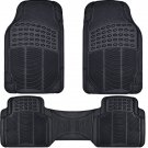 New Car Floor Mats for All Weather Rubber 3pc Set Front & Rear Heavy Duty Black