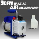 Single Stage 3CFM 1/4HP Rotary Vane Vacuum Pump HVAC Air AC A/C R410a R134a