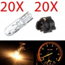 20x T5 White Halogen Bulbs W/Socket For Cluster Panel Dashboard Lights For Honda