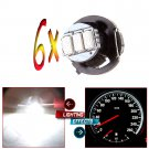 6x White 3SMD LED T4/T4.2 Neo Wedge Dashboard Gauge Climate Control Light Bulb