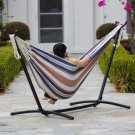 New Double Hammock With Space Saving Steel Stand Includes Portable Carrying Case