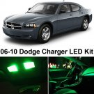 10x Green LED Bulb Lights Full Interior Package Kit ForDodge Charger 2006-2010