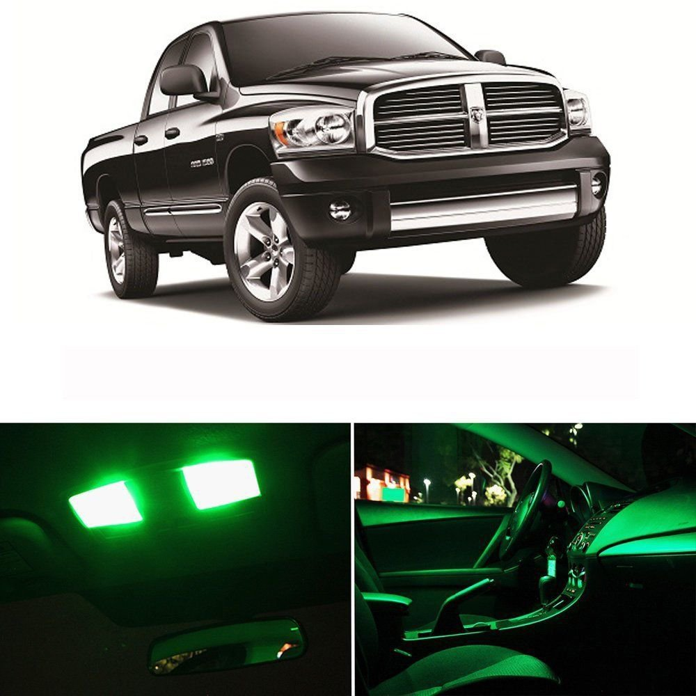 7x Interior Package For 2009 2015 Dodge Ram 1500 2500 3500 Green Led Lights