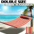 New Outdoor Hammock Quilted Fabric w/Pillow Double Size Spreader Bar Bed Camp UV