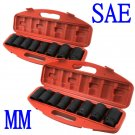 "Set SAE MM 18PC Shallow Impact Sockets Set HD Size 1"" 1-1/2"" 26mm-50mm Wrench"