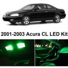 8x Super Green Bulb LED Llights Interior Package Kit For 2001-2003 Acura CL AC1W